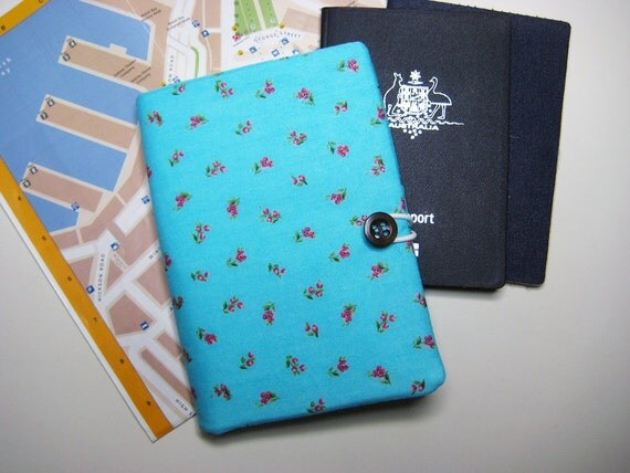 Passport Wallet, Travel Document Wallet, Farewell Bon Voyage Gift, Ticket Pouch in the Turquoise Floral Print Fabric