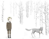 ORIGINAL ILLUSTRATION // Forest Encounters - boy without a face and wolf art print illustration