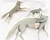 Wolves temporary tattoos art design illustration