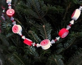 Special Order Felt Peppermint Candy garland you choose length, red/white candy, starlite mints, beads, christmas tree,' made to order