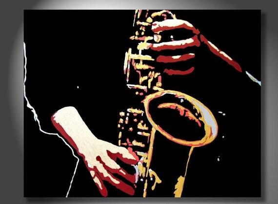 Reserved for Brian--Sax by Bryan Dubreuiel - Free US Shipping - Original - 18 by 24