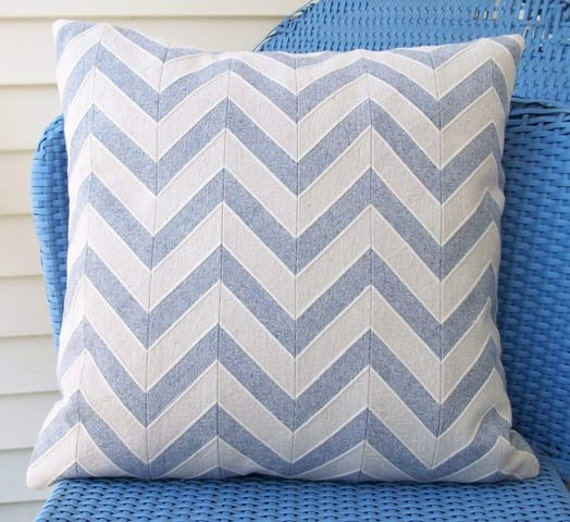 SALE 18x18 pillow cover and insert Chevron horizontal stripe beach-y cottage throw pillow cushion