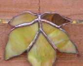 Stained Glass Maple Leaf-Green-Brown-Suncatcher