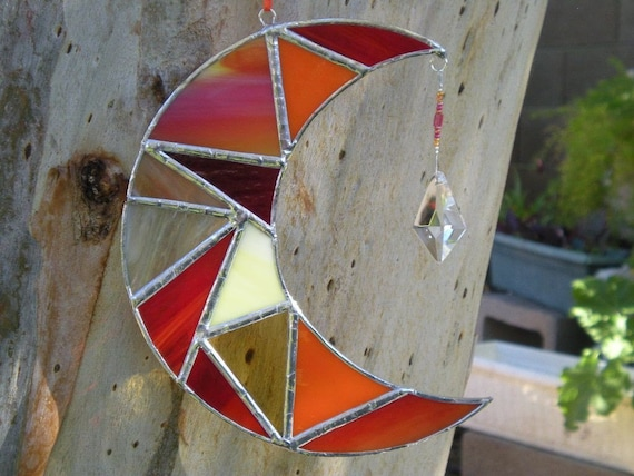 Stained Glass Moon- Orange -Yellow -Red -Prism