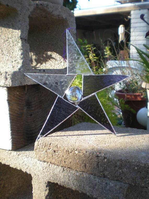 Large Stained Glass Star- Purple -Suncatcher