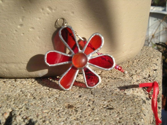 Stained Glass Flower Car Dangle-Red-Suncatcher