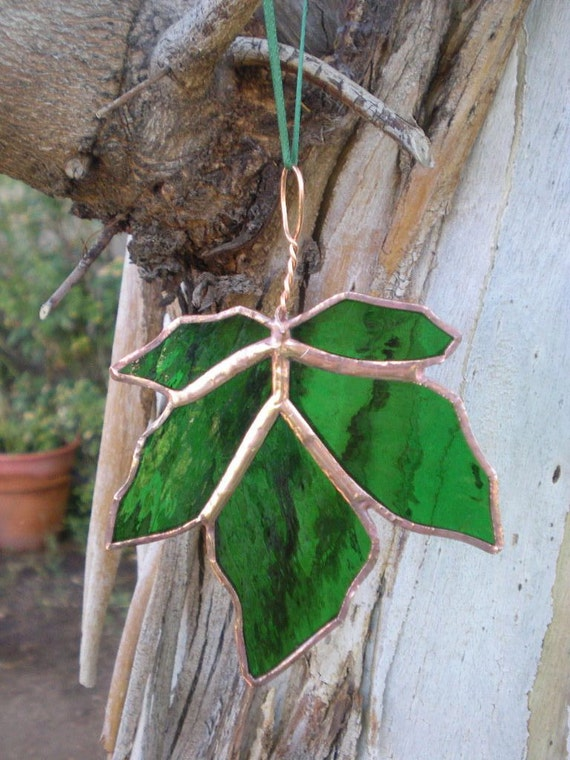 Stained Glass Maple Leaf-Green-Suncatcher