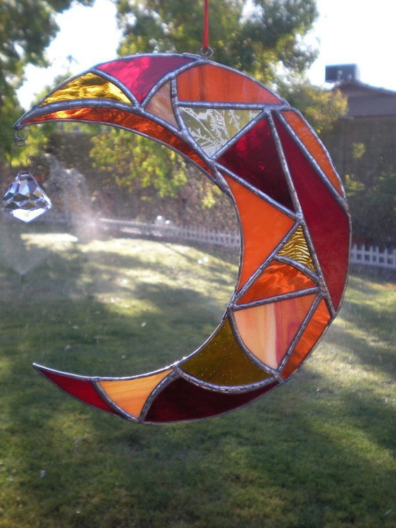 Stained Glass Moon with Prism- Orange -Red- Suncatcher