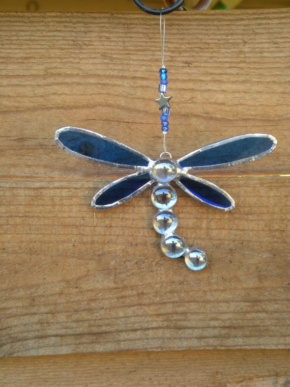 Stained Glass Dragonfly Car Dangle- Blue-Suncatcher