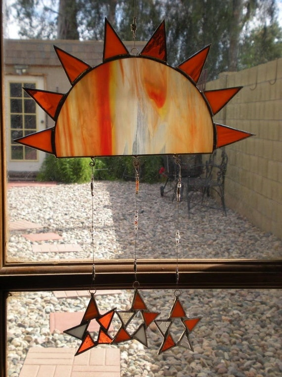 Stained Glass Sun and Stars- Suncatcher -Orange