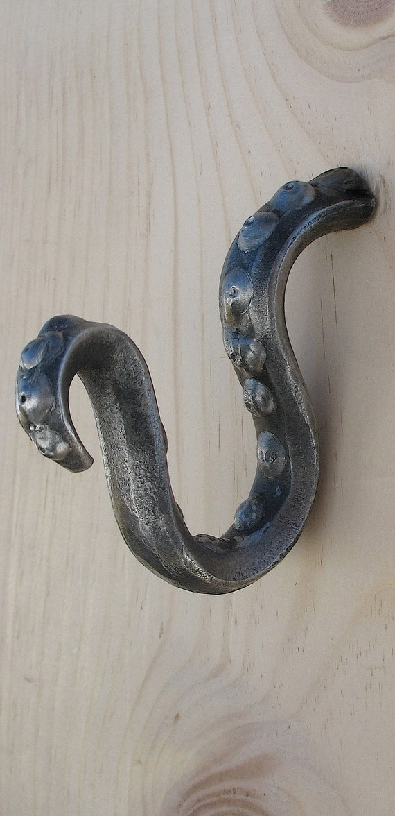 Octopus squid tendril tentacle hook by battlehillforge on etsy - Octopus towel hooks ...