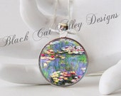 Monet Water Lily Pond Glass Art Pendant Necklace (NO270)