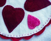 Heart Wool Penny Rug Pink and Red Candle or Table Mat