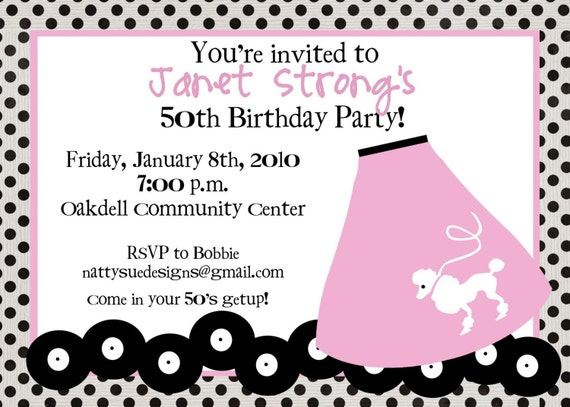 Bash Invitations Fifty Birthday Bash Invitation