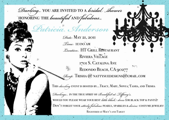 Custom Breakfast at Tiffany's inspired Bridal Shower Invitation