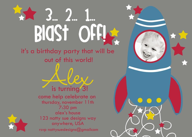 Custom Rocket Ship Birthday Party Invitation By