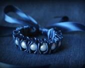 Ribbon Bracelet -Claudella Ruffles and Pearls Bracelet in Blueberry