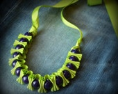 Children Holiday Gift. Girls  Darcie Ribbon Necklace . Boysenberry Purple and Granny Smith Green . TwillyPOPgirl Jewelry