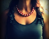 Ribbon Necklace.Crimson Jet Ribbon and Pearls. Statement Necklace. Handmade.Valentine's Day. Bridesmaid Gift. Couture