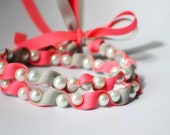 Twillypop Ivy Ribbon and Pearl  Necklace in Tutti Frutti (hot pink) and Gray.  Fashion Jewelry. Ribbon Necklace. Bridesmaid Jewelry.