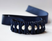Ribbon Bracelet -Nautical Navy Millie Ruffles and Pearls Ribbon Bracelet  Jewelry