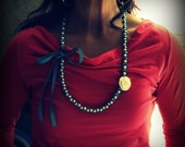 Pearl Necklace .Twillypop Vera Rose Ribbon and Pearl Necklace. Statement Pearls. Blue and White. Romantic. Classic Beauty.