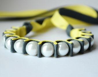 Sarah Ribbon Bracelet in Gray and Yellow. Fashion Jewelry. Statement Bracelet. Bridesmaid Gift. Pearl Bracelet.