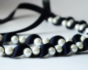 Gift for Her. Necklace.  Kylie Pearl Necklace. Navy. Handmade Jewelry. Pearls. Womens Fashion. Blue. Teen Girl Gift under 50. Hostess Gift.