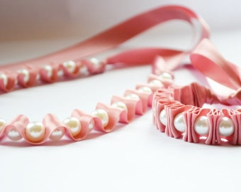 Pink Necklace.  Ribbon Necklace Pearl Gift Set. Bridesmaid Gift.  Pearl Necklace. Ribbon Bracelet. Gift for her under 50. Pink Ribbon