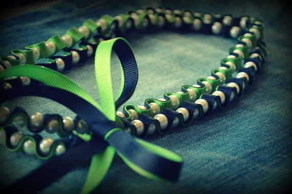 RESERVED for Kate Sarah Ribbon and Pearls  Necklace in Peapod Green and Nautical Navy  Jewelry