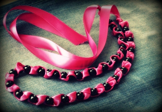 Charlotte Ribbon Necklace in Raspberry Satin and Black Pearl  Jewelry