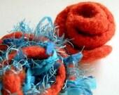 Hairy Orange and Turquoise Felted Rose