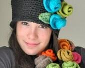 Heather Gray Crochet Hat, Cloche Hat with Turquoise and Olive Green Felted  Roses, Falpper Crochet Hat, Felt Rose,Felt Flower