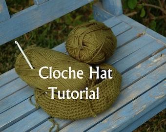 Digital Download - Crochet Hat Pattern - How to Crochet a Cloche Hat - A step by step detailed tutorial -Beginners crochet hat  pdf pattern