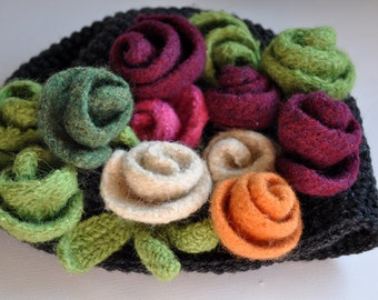 Crochet Hat - Cloche Hat - Felt /flower -Heathe Gray Hat with 3 Felted Roses - Choose your own color combination