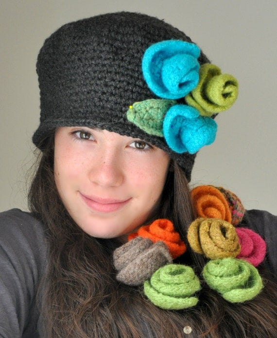 Items similar to Heather Gray Crochet Hat, Cloche Hat with ...