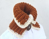 Crochet Neckwarmer - Chunky Ribbed and Thick In Autumn Brown &   Handmade Wood Buttons by Tejidos on Etsy