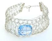 Crochet Sterling Silver Bracelet * Genuine Aqua Blue Topaz Gemstone * December Birthstone by Tejidos on Etsy