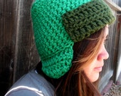 Crochet Kyle Aviator Hat South Park Inspired Bright Green - Ready to Ship - by Tejidos on Etsy sz 22-23 in