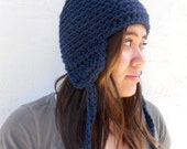 Crochet Wool Blend Chullo Hat In Navy Blue - Inspired Craig Tucker South Park  -  by Tejidos on Etsy Made to Order