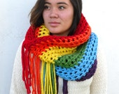 Crochet Fringed Rainbow Cowl Scarf - Thick and Chunky by Tejidos on Etsy  One size Ready to Ship