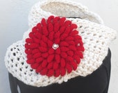 """Wool Infinity Scarf In Cream with Detachable 8"""" Red Chrysanthymum Brooch * Ready to Ship by Tejidos on Etsy * Red Flower Accessory Brooch"""