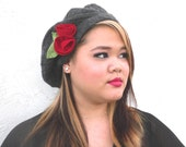 Sale ! Pure 100 % Cashmere Beret with attached Roses - In Charcoal Grey - Upcycled Sweater Accessory  by Tejidos