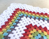 Double Rainbow Granny Square Crochet Baby Blanket Afghan- Made to Order- Boy or Girl - By Tejidos on Etsy