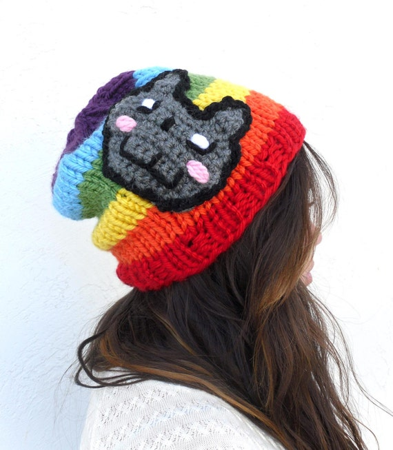 Nyan Cat Pop Tart Cat Rainbow Colored Beanie Slouch by Tejidos