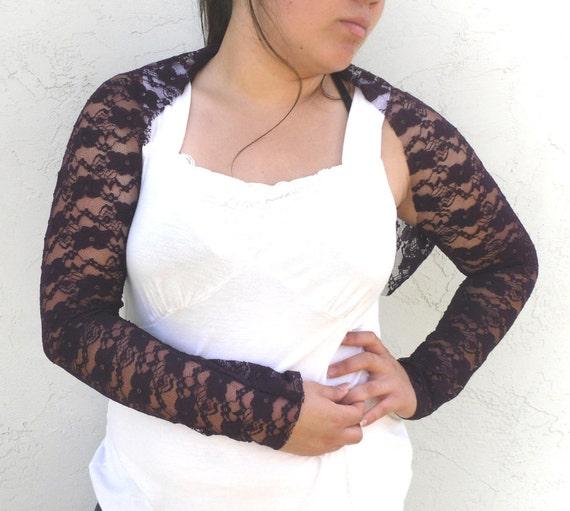 Royal Purple Lace Shrug - Bohemian Gypsyish Romantic and Lacey -  Size Fits Sz 13 to 16w Plus size