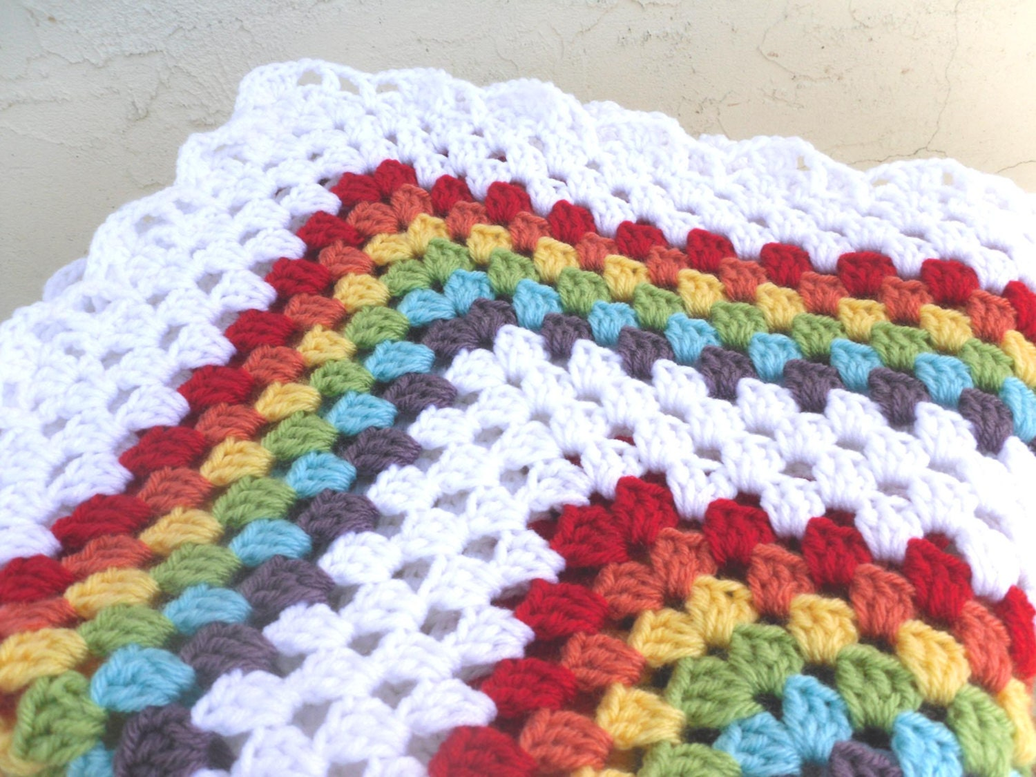 Easy Crochet Granny Square Baby Blanket Pattern : Items similar to Double Rainbow Granny Square Crochet Baby ...