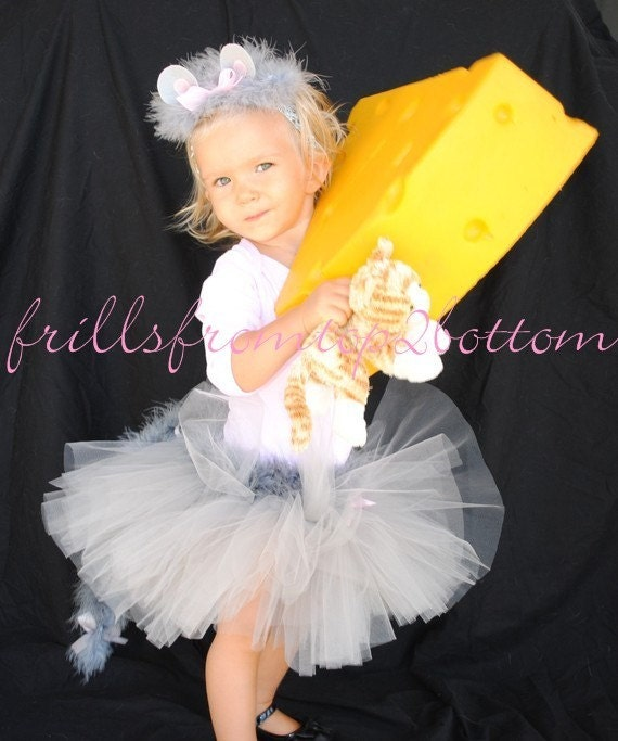Newborn/Infant/Toddler Gray Mouse Tutu Outfit includes Pink Onesie Tutu Skirt with Tail and ear headband