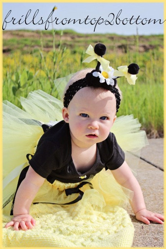 Newborn/Infant/Toddler Bumble Bee Tutu Outfit  3 pcs included Onesie Tutu Antannae Headband