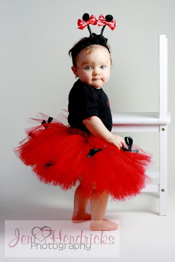 Newborn/Infant/Toddler Ladybug Tutu Costume 3 pcs include onesie tutu and antannae headband